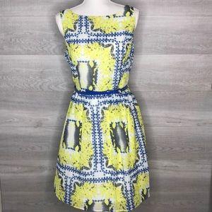 Ronni Nicole Dress Blue Yellow White Size 14P